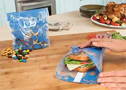 Our new Out to Lunch Sandwich Wrap and Snack Bag are reusable and made of recyclable LDPE #4 plastic!